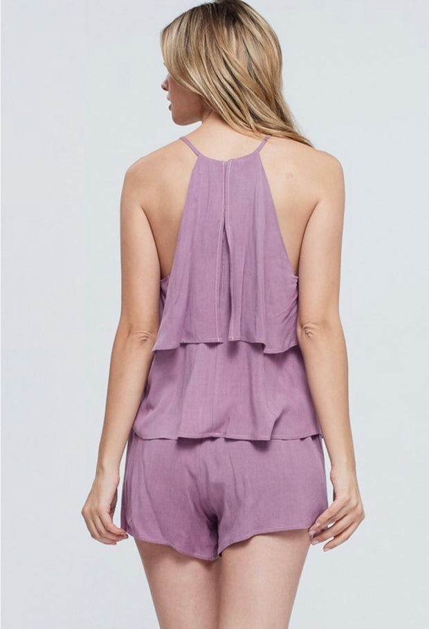 SET-C {Perfect Option} Lavender Ruffle Top W/ Shorts SALE!!