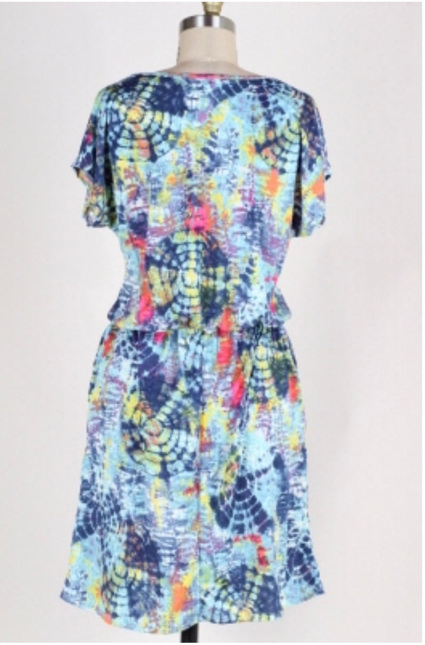 PSS-K {Fade Together} Blue/Multi Print Tie-Dye Dress w/Pockets