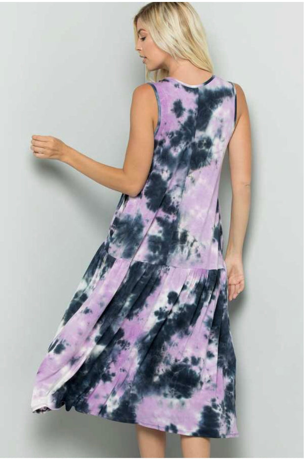 LD-A {Just Like Magic} Sleeveless Tie-Dye Dress w/Pockets