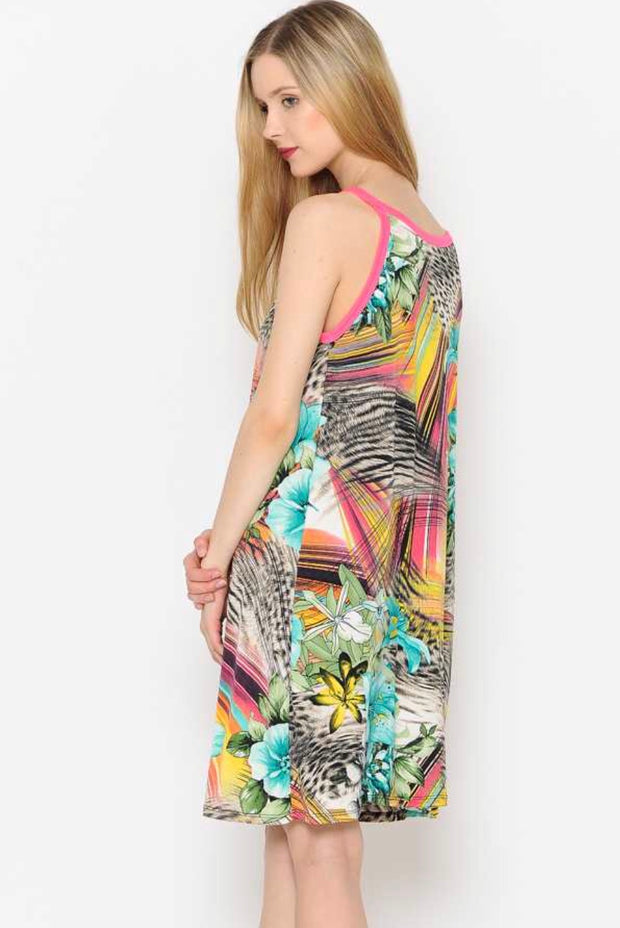 SV-D {Down At The Shore} Tropical Print Sleeveless Dress SALE!!