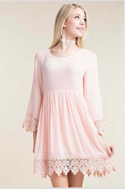 SQ-A {Good Girl} Peach Tunic with Floral Crochet Detail