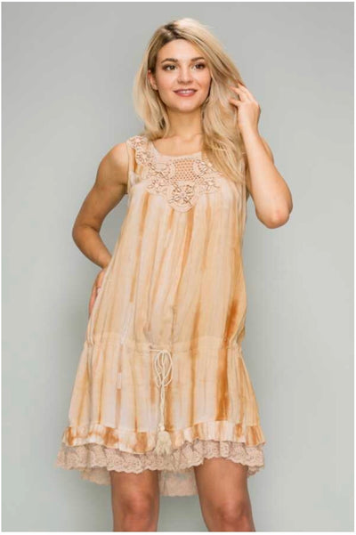 SV-E {Who Knew} Camel Tie-Dye Tunic with Seashell Detail