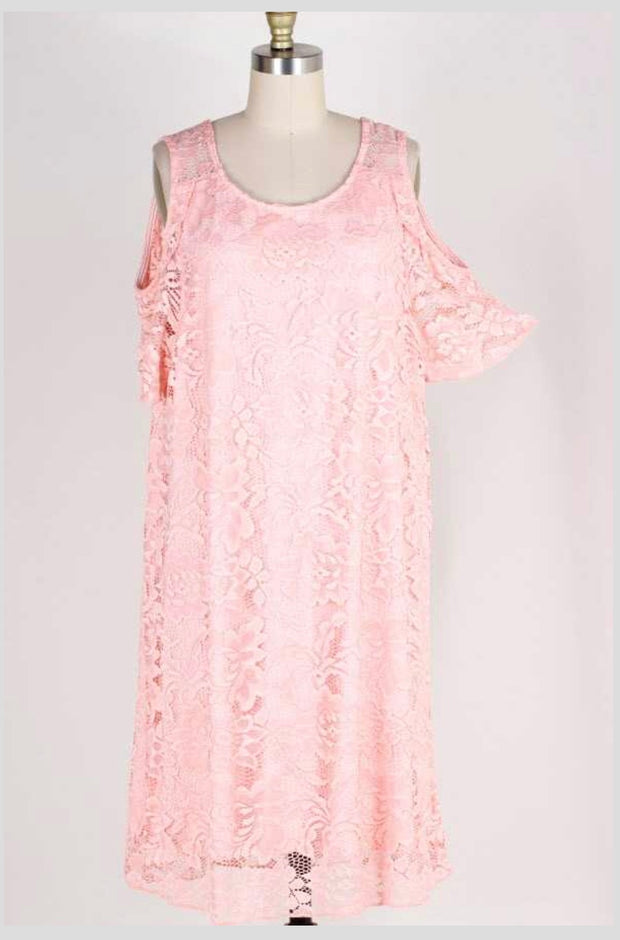 OS-C {First Look} Pink Lace Cold Shoulder Dress w/Lining