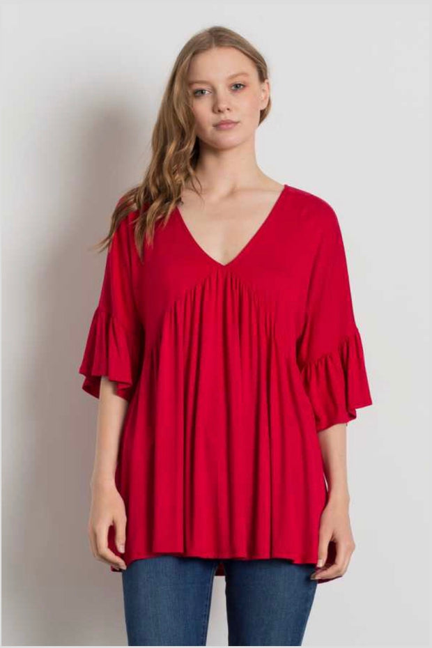 SQ-A {Saved By The Bell} Red V-Neck Top with Bell Sleeves