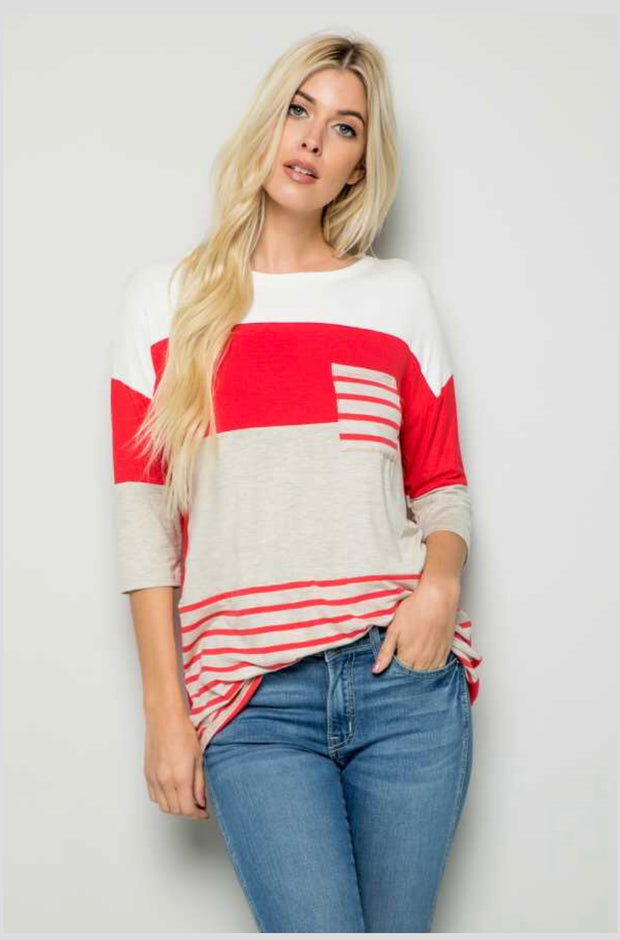 CP-K {Beyond Happy} Red/Gray Striped Contrast Top Pocket