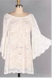 SQ-G {Time After Time} White Lace Tunic with Bell Sleeves