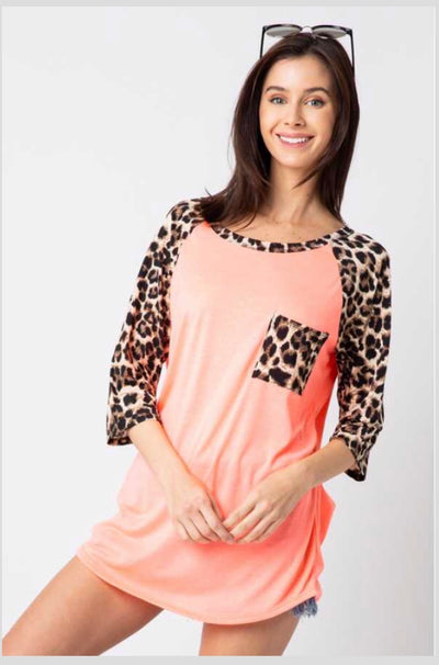 CP-F {Future Is Bright} Neon Coral Top Leopard Print Contrast