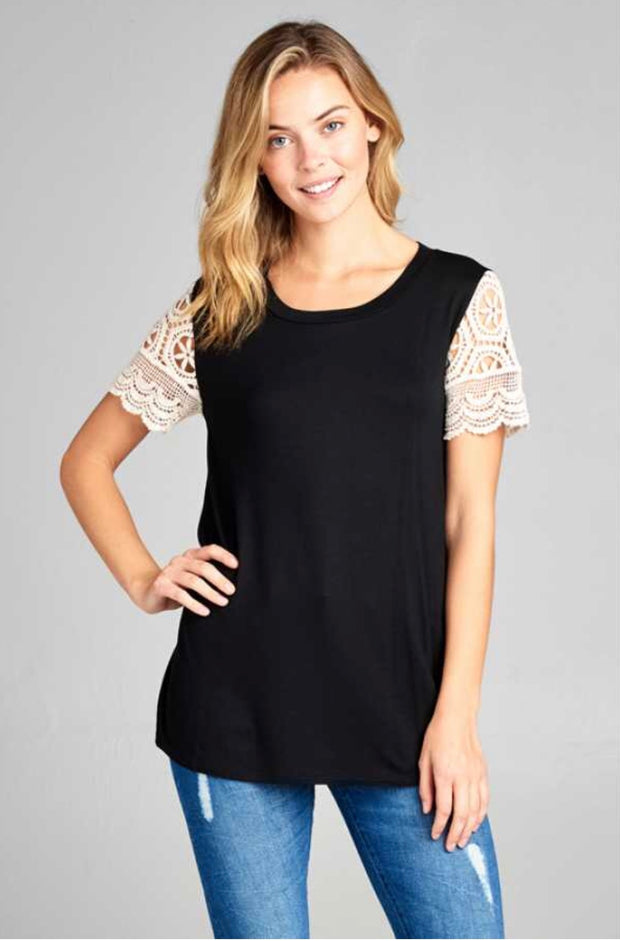 SD-A {Take Back The Night} Black Top with Crochet Sleeves