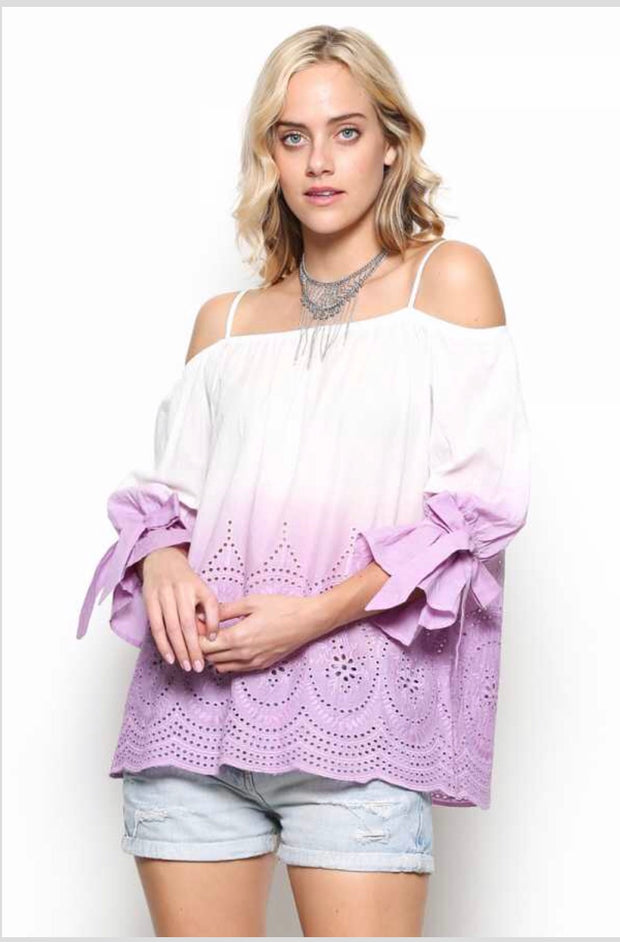 OS-A {More To Explore} Lavender Gradient Dye Top with Eyelet Detail