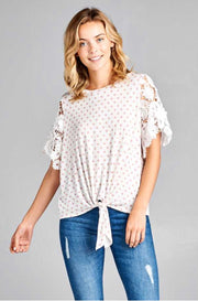 CP-M {A Girl Like Me} Pink Polka-Dot Top Lace Sleeves