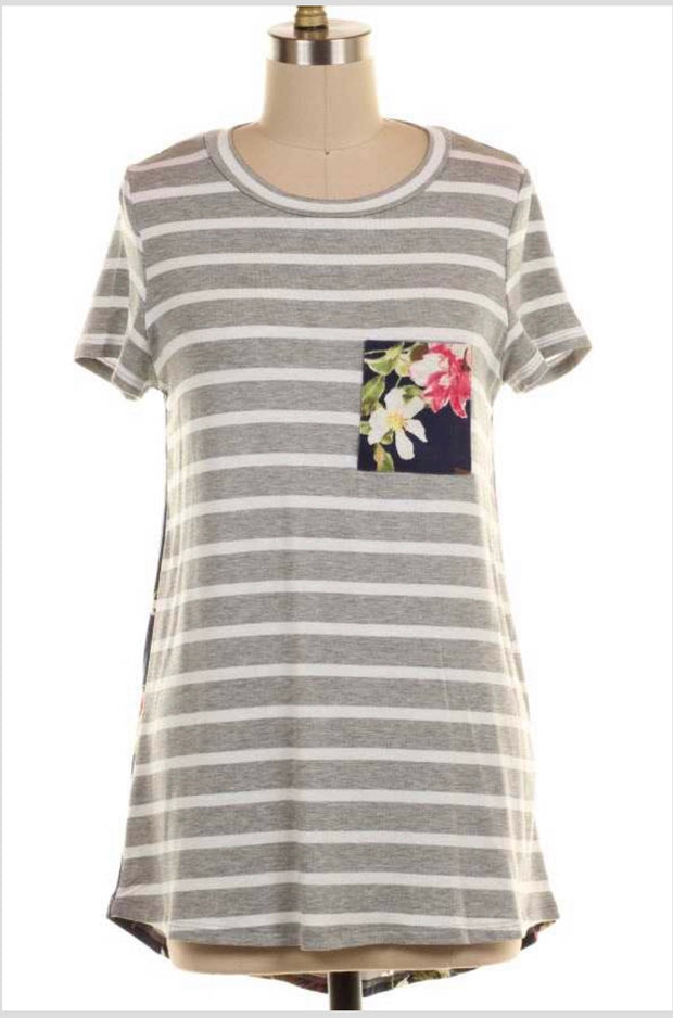 CP-M {Good To Me} Gray Striped Top with Floral Contrast