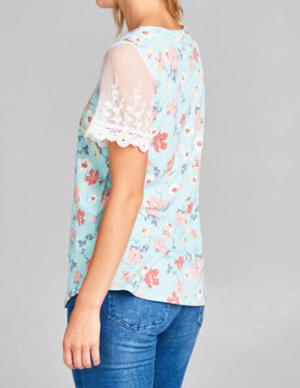 CP-E {Cuddles With You} Mint Floral Top with Lace Sleeves