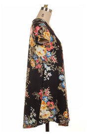 PSS-A {Adored The Most} Black Floral Tunic or Dress
