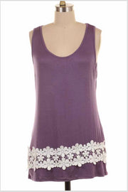SV-A {Little White Lies} Sleeveless Top with Floral Crochet Detail