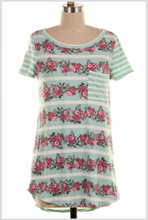 CP-F {Floral Magic} Mint Striped Top with Pink Floral Print