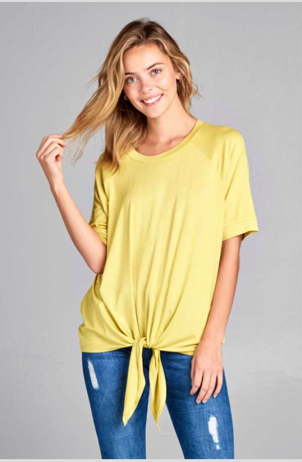 SSS-A {Like A Champ} Short-Sleeved Lime Top with Knot Tie