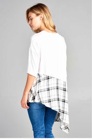 CP-G {Perfect Illusion} White Top with Black Plaid Contrast