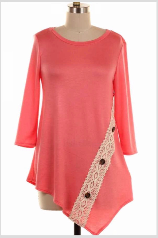 SD-E {Loving Every Day} Coral Top with Crochet Detail