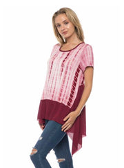 CP-J {Right On Time} Asymmetrical Burgundy Bamboo Top