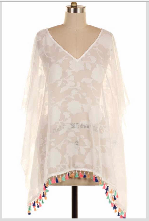 SD-C {Beachy Keen} White Kimono Top with Colorful Tassels