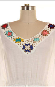 SD-A {Like Your Style} White Detailed Tunic with Tassels