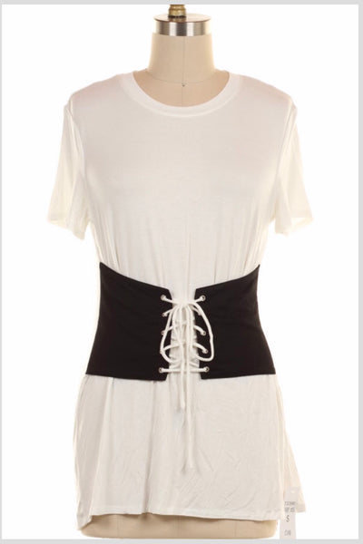 SD-A {Working Girl} White Top with Black Corset Belt Look