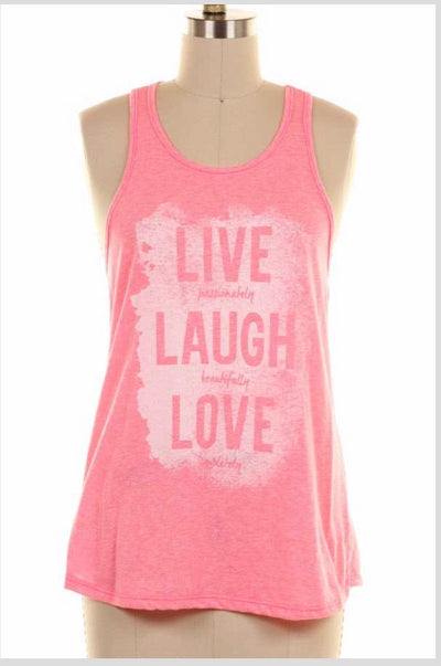 GT-B {Live Laugh Love} Coral Sleeveless Graphic Tank Top
