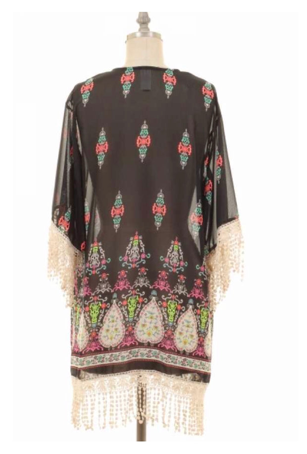 OT-A {Risk It All} Black Printed Cardigan with Crochet Fringe Detail