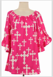 PQ-C {Show The World} Fuchsia Bell Sleeve Tunic with Cross Print
