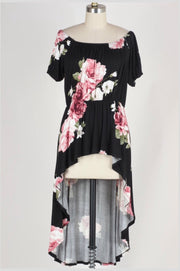 PSS-F {Summer Kiss} Black Floral Print Hi-Lo Tunic SALE!!