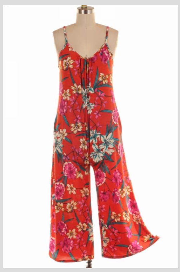 RP-E {Happy Today} Burnt Orange Floral Print Romper SALE!!