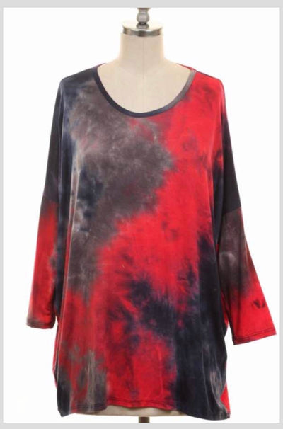 PQ-D {In A Daze} Red/Navy Tie-Dye Tunic