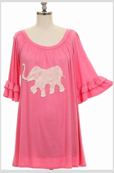 GT-B {Easy Peasy} Pink Top Quarter Ruffle Sleeve W/ Elephant Crochet Detail