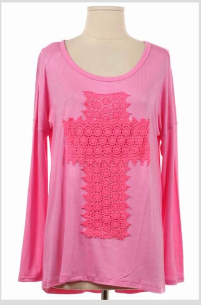 GT-A {Amen To That} Pink Top W/ Crochet Cross Detail