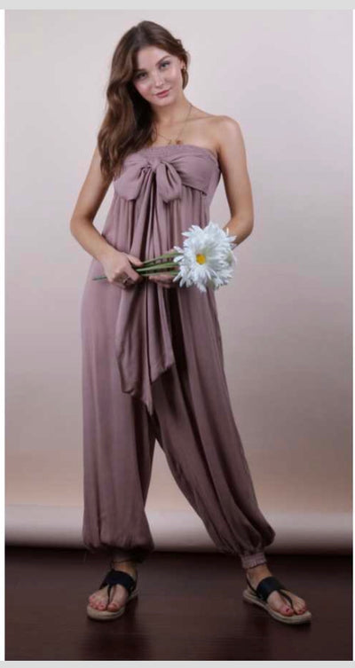 RP-B {Girls Night Out} Taupe Strapless Romper W/ Knotted Detail