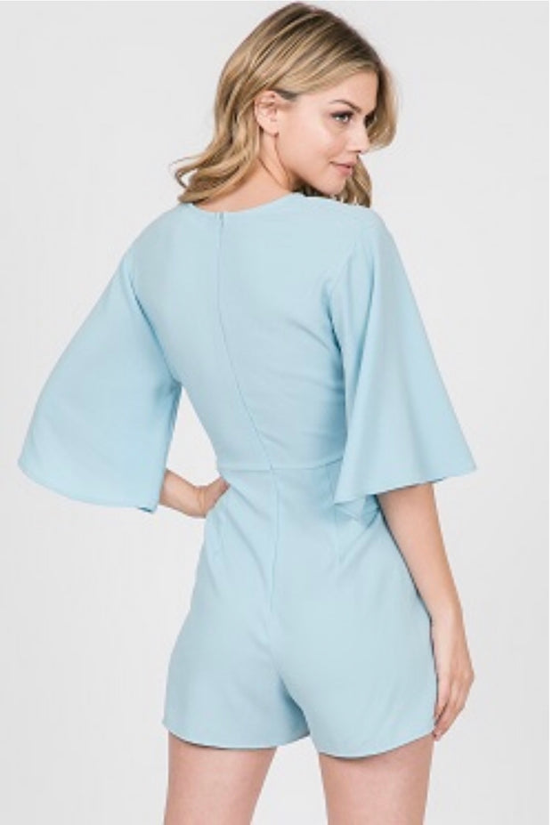 RP-B {Walk By Faith} Baby Blue Romper with Front Tie Detail SALE!!