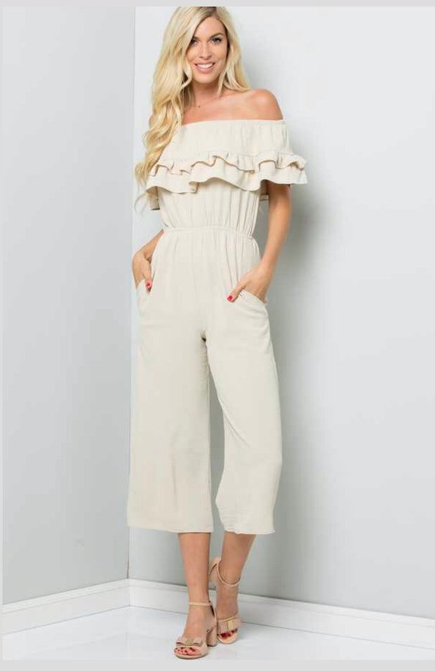RP-C {Feeling Fine} Natural Off Shoulder Romper W/ Ruffle