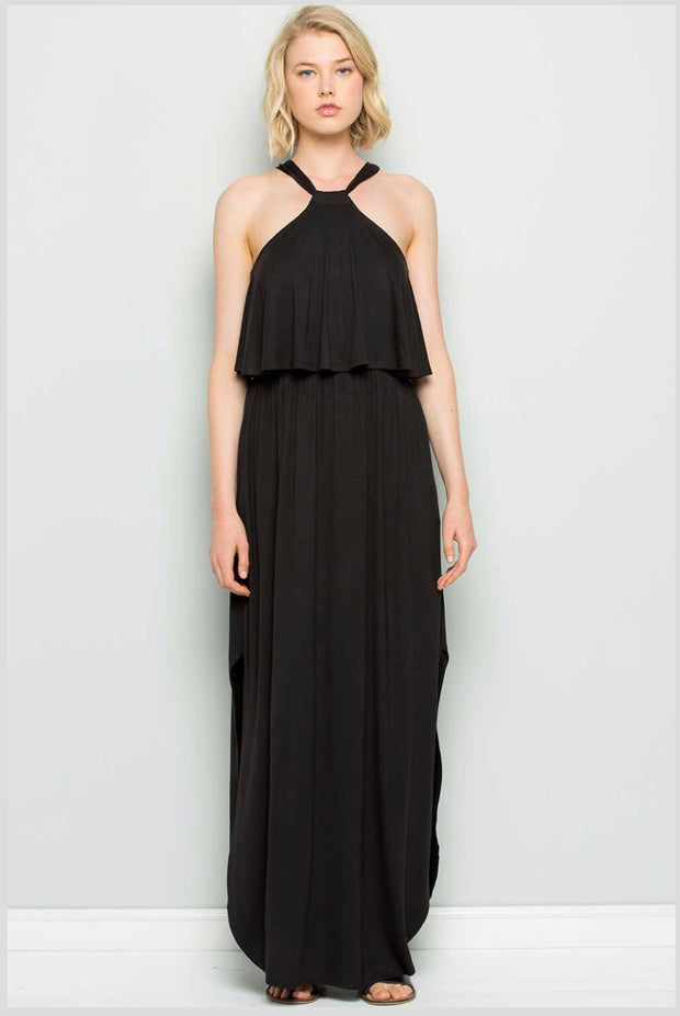 LD-M {Sweetest Hour} Black Yoke Detail Maxi Dress W/ Pockets