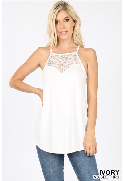 SV-O {Always Together} Ivory Sleeveless Top W/ Lace Neck Detail SALE!!