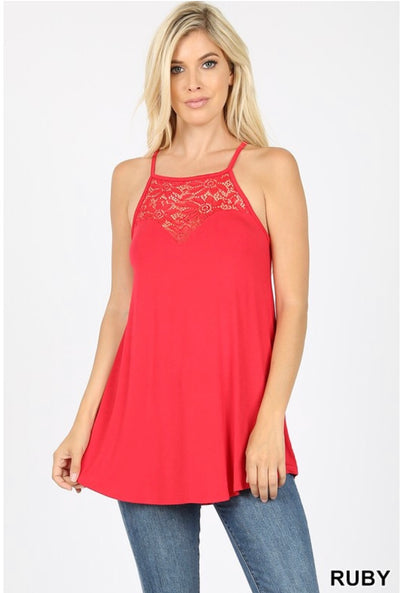 SV-X {Always Together} Ruby Sleeveless Top W/ Lace Neck Detail