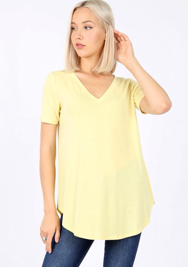 SSS-M {Coming Along} Soft Yellow V-Neck Top