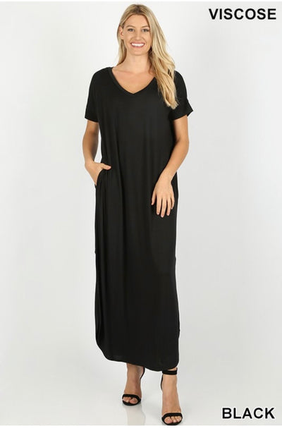 LD-M {So Far Away} Black V-Neck Maxi Dress W/ Pockets