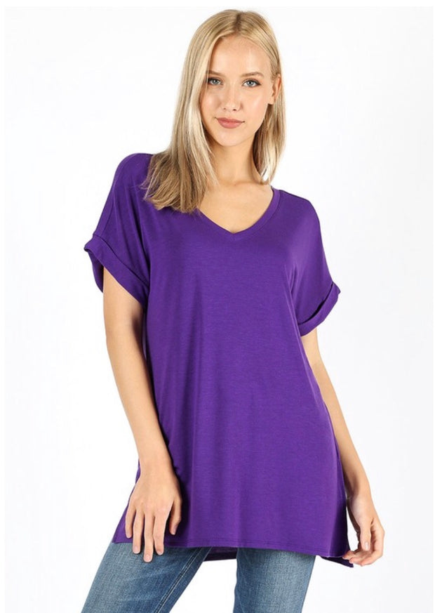SSS-X {Figure It Out} Purple V-Neck Top W/ Cuffed Sleeve