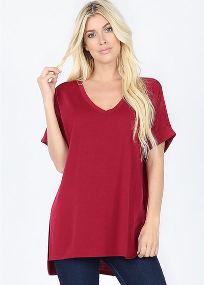 SSS-K {Figure It Out} Burgundy V-Neck Top W/ Cuffed Sleeve