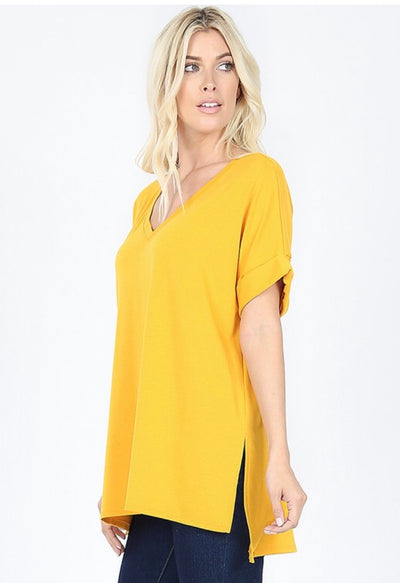 SSS-P {Figure It Out} Mustard V-Neck Top W/ Cuffed Sleeve