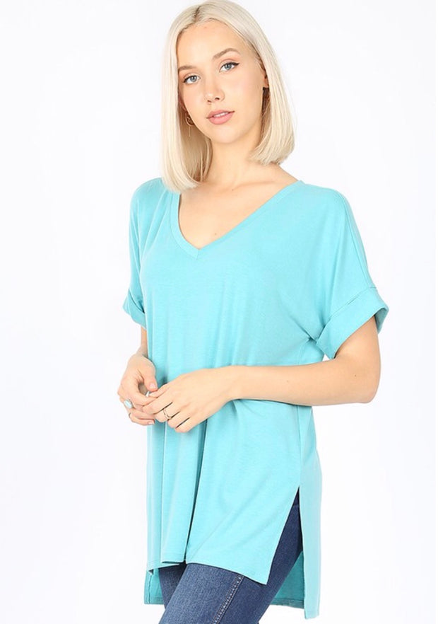 SSS-M {Figure It Out} Blue V-Neck Top W/ Cuffed Sleeve