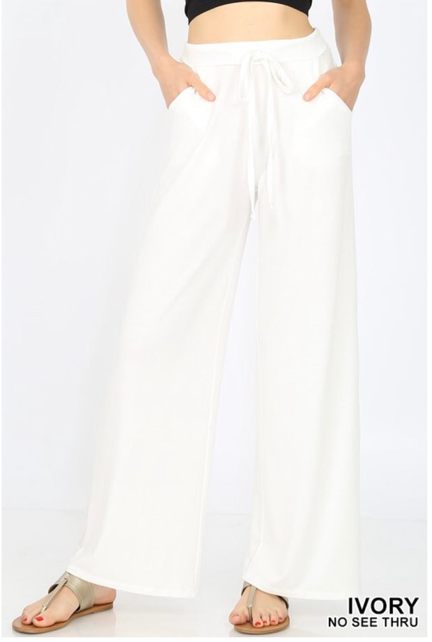 BT-Z {Pressed For Time} Ivory Lounge Pants W/ Drawstring