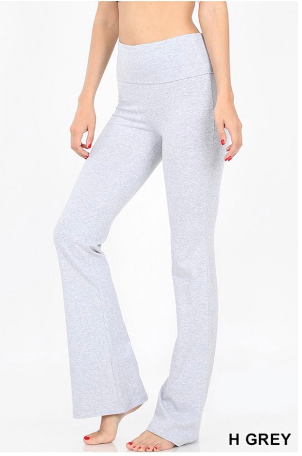 BT-M {Off The Grid} Gray Fold Over High Waist Yoga Pants