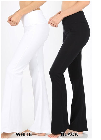 BT-S {Off The Grid} White Fold Over High Waist Yoga Pants