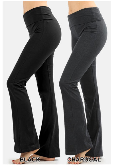 BT-L {Off The Grid} Charcoal Fold Over High Waist Yoga Pants